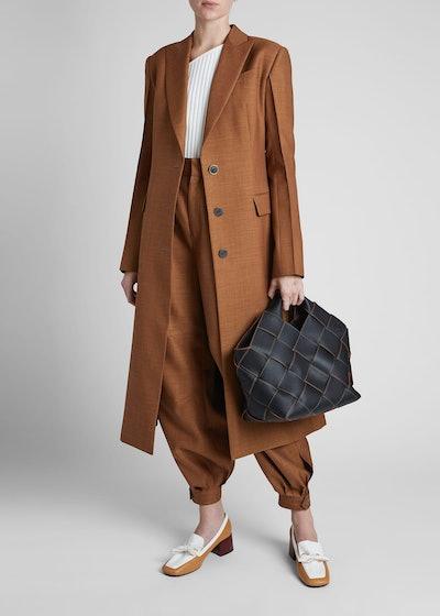 Peak-Lapel Wool Twill Coat