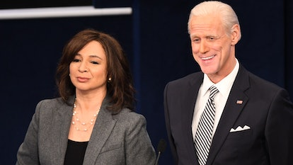 "Pictured: (l-r) Maya Rudolph as Kamala Harris and Jim Carrey as Joe Biden during the ""First Debate"" Cold Open on Saturday, October 3, 2020 -- (Photo by: Will Heath/NBC)"