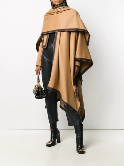 Contrast-Trim Draped Poncho