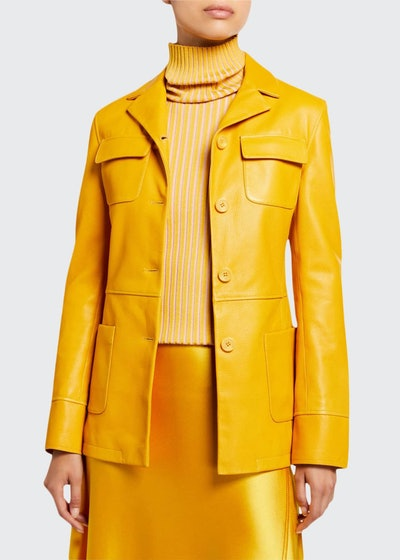 Leather Collar Jacket