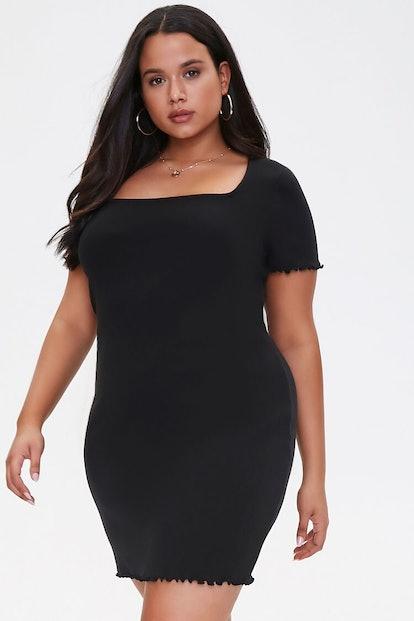 Plus Size Ribbed Lettuce-Edge Dress