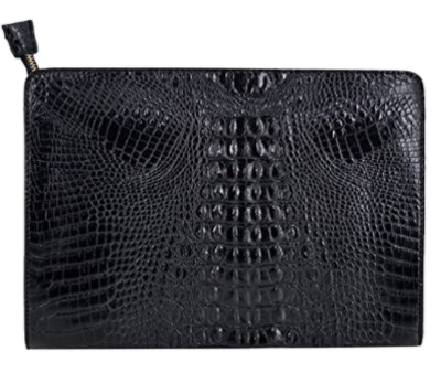 Van Caro Oversized Leather Crocodile Clutch