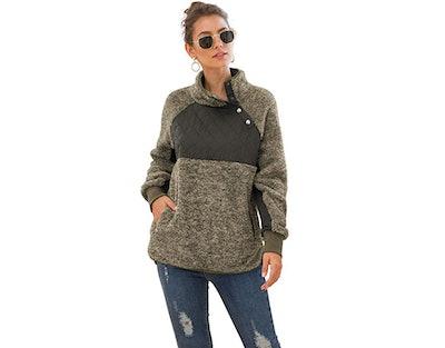 VIISHOW Women's Button Neck Fleece Pullover