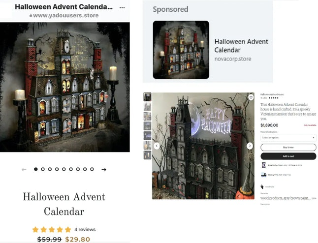 Two online ads, left and top right, that use a product image taken from an Etsy vendor after the ven...
