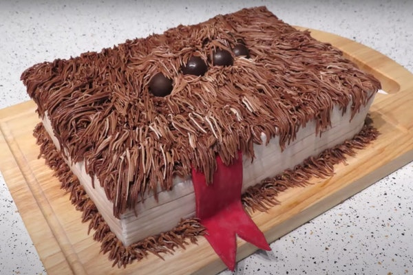 A monster book cake based off the one from 'Harry Potter' sits on a kitchen counter.