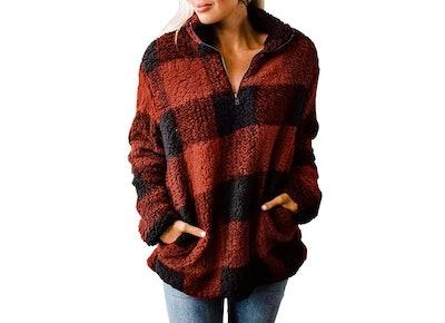 ZESICA Women's Plaid Pullover