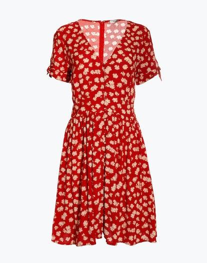 Button-Front Tie-Sleeve Retro Dress in Happy Hibiscus