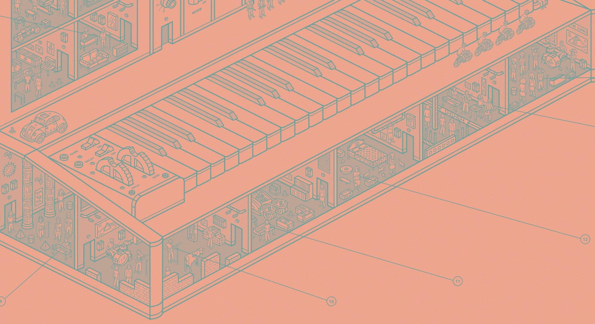 Cutaway illustration of a Moog synthesizer