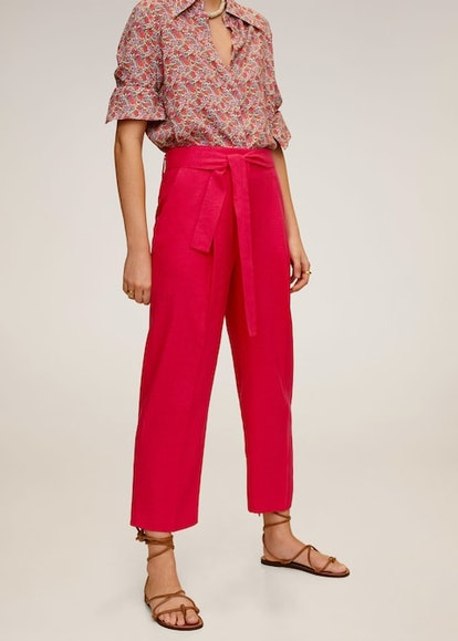 Cropped linen-blend pants