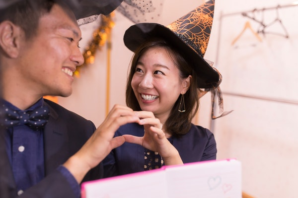 Young couple in Halloween costumes