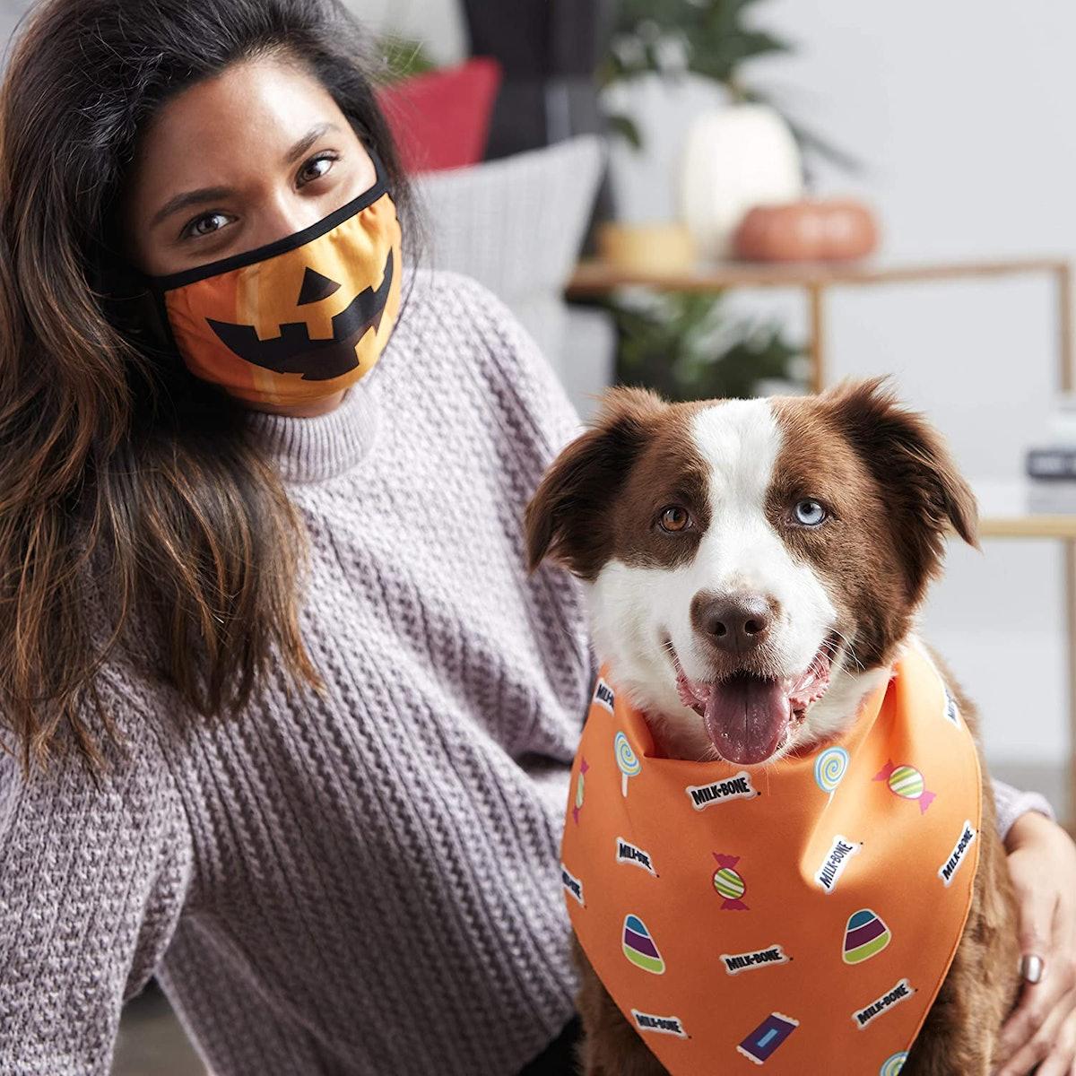 Milk-Bone Halloween Face Mask and Dog Bandana Set