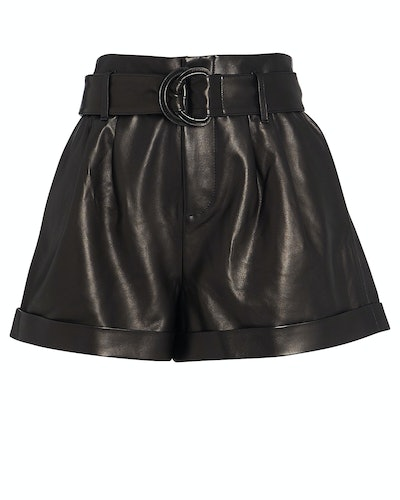 Belted Paperbag Leather Shorts