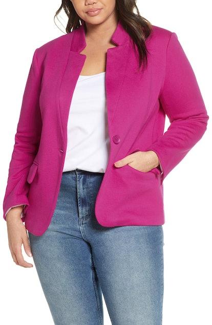 GIBSONLOOK Inverted Notch Collar Cotton Blend Blazer