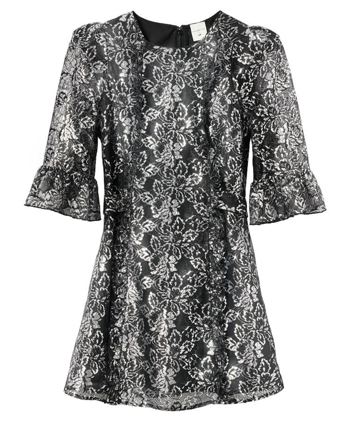 H&M x the Vampire's Wife Silver Lace Mini Dress