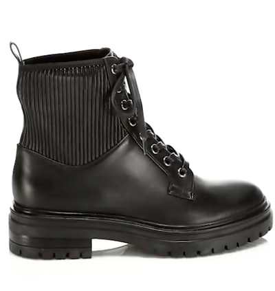 Martis Rib-Knit Leather Combat Boots