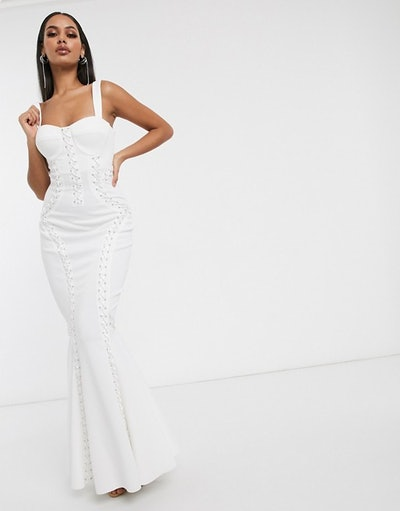 Premium extreme lace up cami maxi dress in white