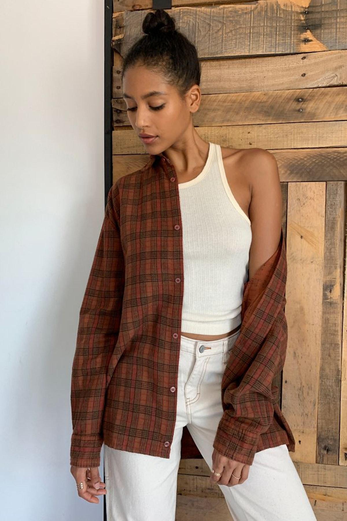 Urban Renewal Recycled Overdyed Boyfriend Flannel Shirt