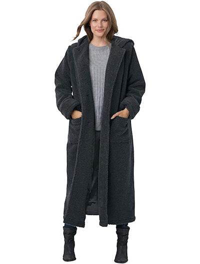 Woman Within Plus Size Long Hooded Berber Fleece Coat