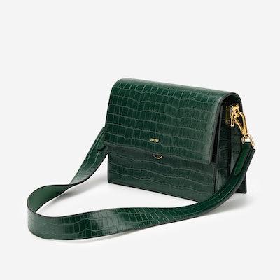 Mini Flap Bag - Dark Green Croc