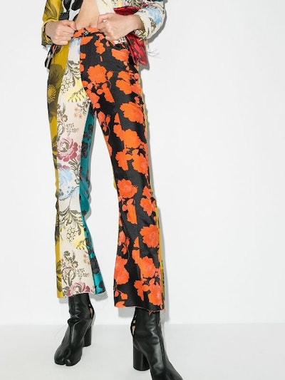 Patchwork Flared Trousers