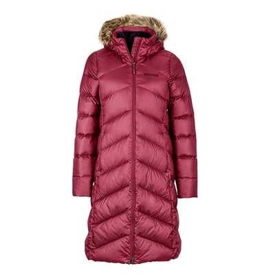 Marmot Women's Montreaux Full-Length Down Puffer Coat, Berry Wine, Large