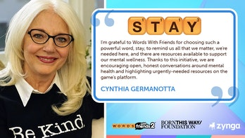 Photo of Cynthia Germanotta with quote text to the right discussing the mental health awareness initiative.