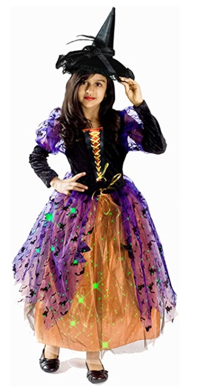Light Up Witch Costume for Girls with Black Hat