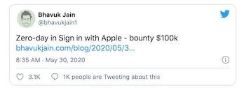 Screenshot of tweet promoting Apple's bounty program