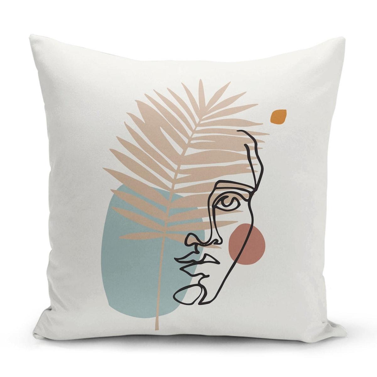 Minimalist Woman Face Throw Pillow