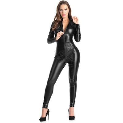 Fierce Wet Look Zip-Around Catsuit
