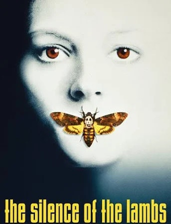 """""""Silence of the Lambs"""" movie poster with Jodie Foster and a moth covering her mouth."""