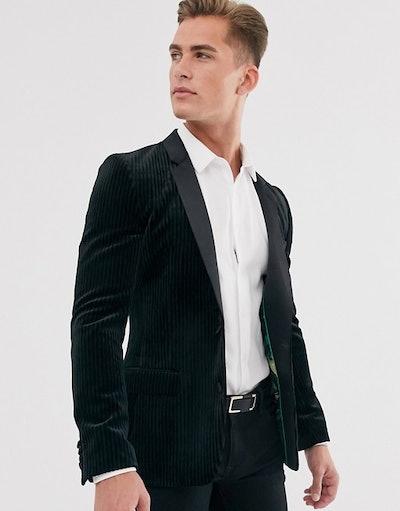 Super skinny tuxedo blazer with plisse velvet in black
