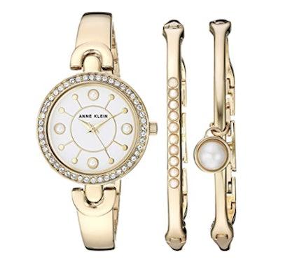 Anne Klein Swarovski Crystal Watch and Bangle Set