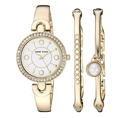 Anne Klein Swarovski Crystal Watch and Bangle Set