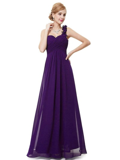 Chiffon One Shoulder Maxi Long Bridesmaid Dresses for Women