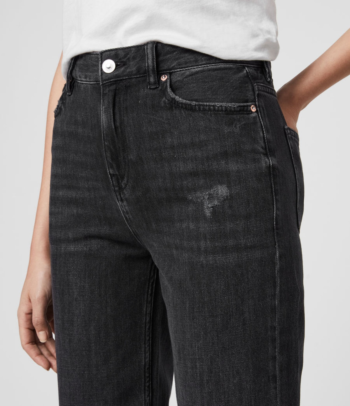 Ash Cropped High-Rise Boyfriend Jeans