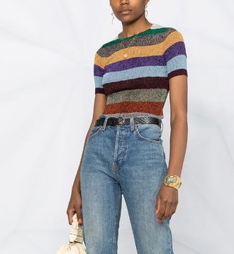 Metallic Striped Knit Top
