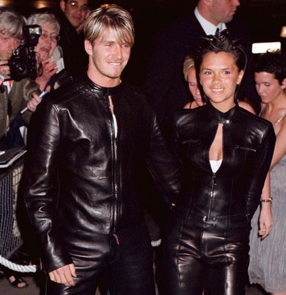 David and Victoria Beckham wearing matching black leather biker suits