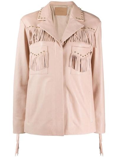 Studded Fringe-Detail Leather Jacket