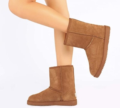 DREAM PAIRS Suede Leather Sheepskin Boots