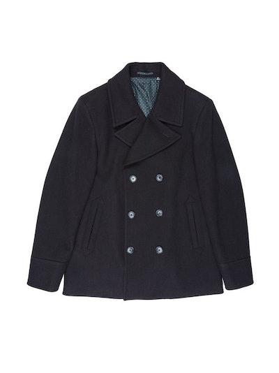 Black Faux Wool Peacoat