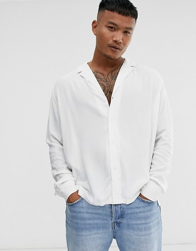 Relaxed fit viscose shirt with low revere collar in white