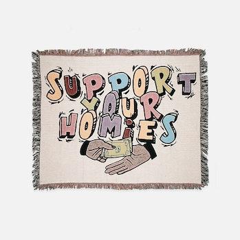 Bricks & Wood Support Your Homies Woven Throw Blanket