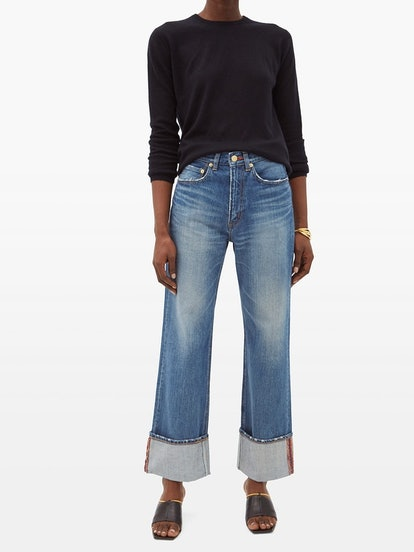 Carnelian high-rise turn-up cuff jeans