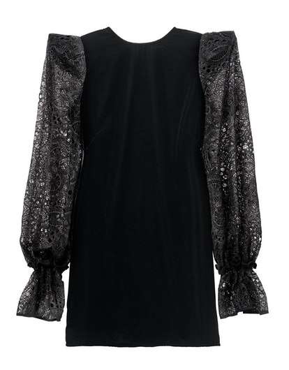 H&M x the Vampire's Wife Black Velvet and Lace Sleeve Dress