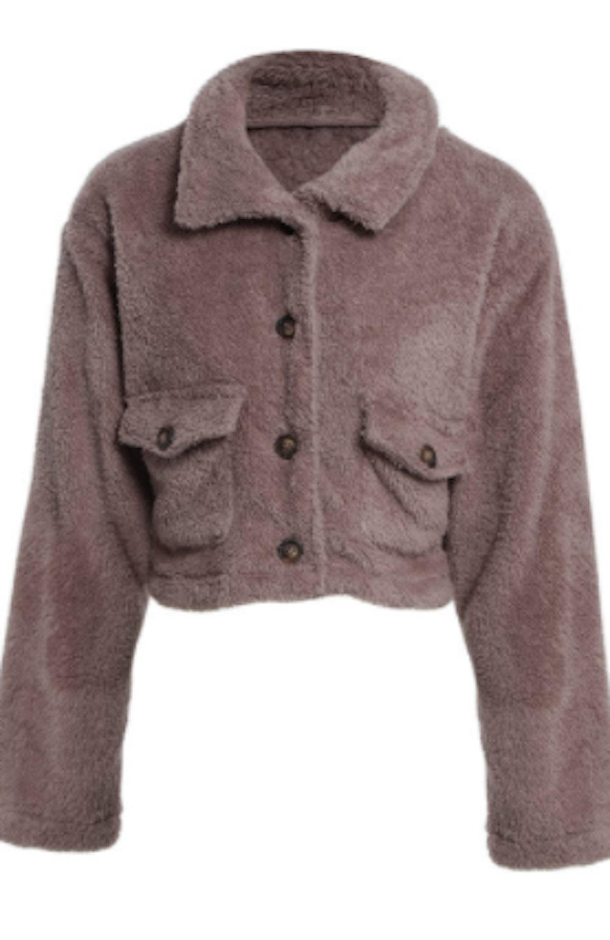 Heartbeat Dusty Pink Teddy Jacket