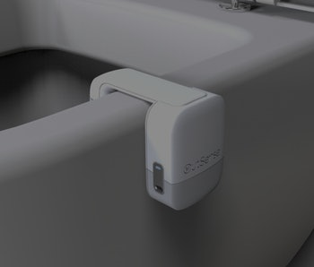 OutSense clip on device on a toilet