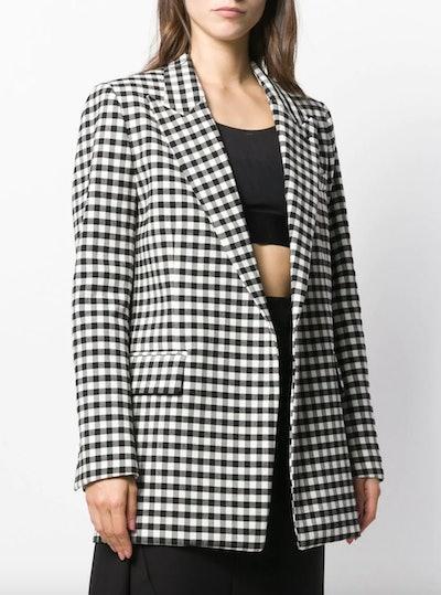 Gingham Buttonless Long Blazer