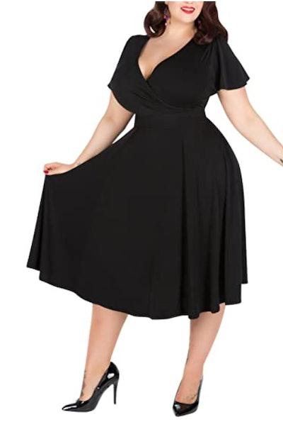 Nemidor V-Neckline Midi Dress
