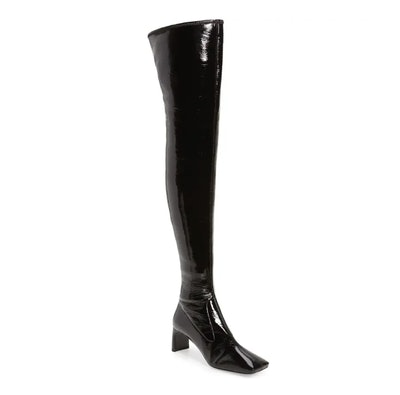 Square Toe Faux Patent Leather Knee High Boot